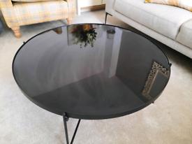 Dunelm Black Metal Mirrored Round Coffee Table