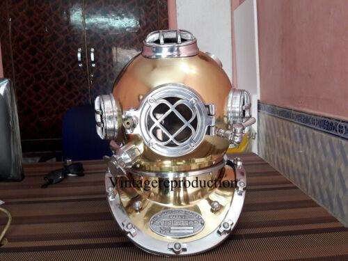 "Vintage Diving Helmet Vintage Deep Sea Full Size Repl 18"" US Navy Mark V Scuba"