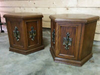 Pair of Vintage Solid Wood Hexagon End Tables - Delivery