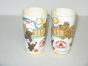 1986 POUND PUPPIES COLLECTIBLE DRINKING CUPS ~2 TOTAL STILL HERE