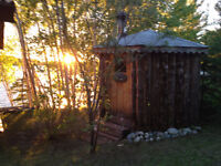 Sauna with woodstove