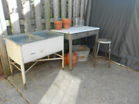 Vintage Galvanized Wash Sink on Legs. Garden Decor.