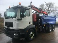 2009 59 MAN TG-M 26.340 6x4 Thompson steel tipper Epsilon M105L crane grab