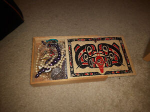 Assorted jewelry lot plus wooden box.