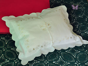 ON SALE 2PCS Vintage Battenburg Lace Cotton Baby Pillow Case White