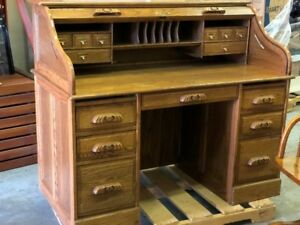 SOLID Oak Roll-top Desk & original chair on casters