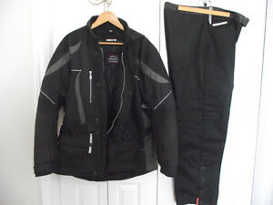 Water proof suit and leather bike jackets, vests and chaps