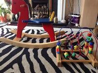 Wooden rocking horse and activity toy
