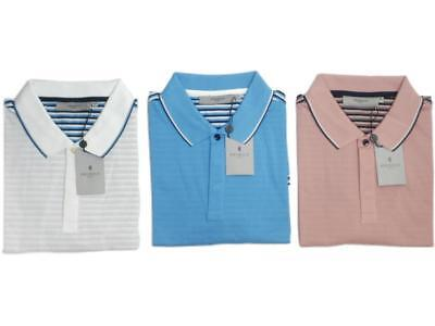 Mens Clothing Pringle Golf Stripe Pique Polo T-Shirt Cotton Sports Casual Tee @