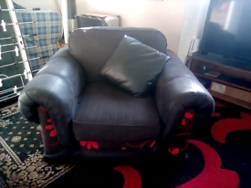 Sofa Armchair - Charcoal Grey with Red Pattern - Excellent Condition