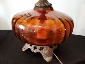 vintage amber glass bottom lamp - only 1 left