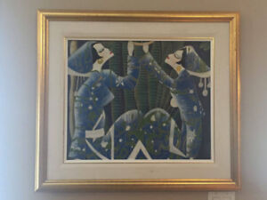 A VINTAGE  WATER  COLOR  BLUE PAINTING FOR SALE