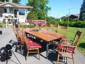 Farmhouse Table and 8  Pressback Chairs