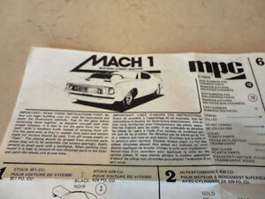 Vintage 1980 MPC Mach 1 Mustang Model Car Instructions Brochure