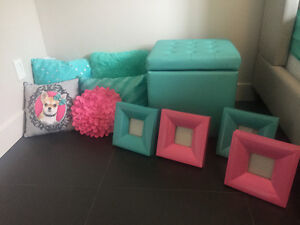 Girls bedroom decor - storage trunk pillows picture frames