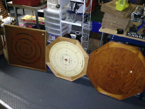 2 VINTAGE CROKINOLE BOARDS ONE SQUARE & ONE ROUND