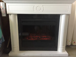 fireplace large white electric