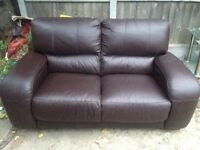 2 seater and 2 seater brown sofa set