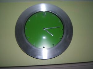 SILVER GREY CLOCK WITH GREEN FACE