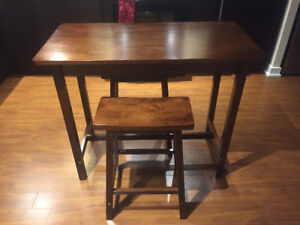 Solid 3 Piece Kitchen Island Dining Pub Set