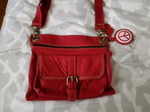 $80 roots leather bag - natural cherry leather