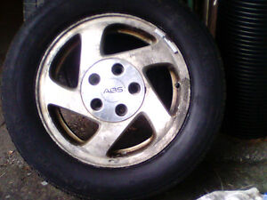 x 3 215/60R15 M&S Aluminum Rims and good useable tires