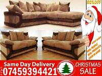 50% Off JUMBO CORD FABRIC CORNER SOFAS AND 3 + 2 SEATER SUITES