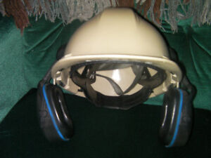 Beige hard hat with liner and ear protection