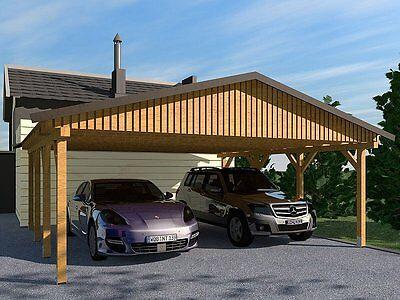 Carport Satteldach MONZA II 600x600cm, Bausatz