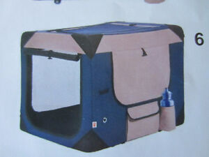 """Deluxe Soft Dog or Cat Crate 21""""W x31""""Lx31""""H Blue and Beige"""