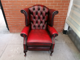 A Deep Oxblood Red Leather Chesterfield Queen Ann Recliner Armchair