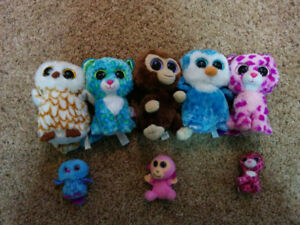 Like new group of 5 Beanie Boos and 3 mini's, $15