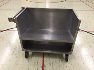 Stainless steel dish cart on wheels