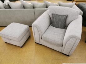 Grey Fabric Armchair & Footstool Set