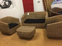 Woven Rattan Sofa Suit Chairs Table Cushions Conservatory Garden Patio
