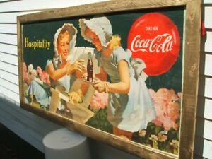 AFFICHE PUBLICITAIRE ANTIQUE COKE, COCA-COLA 1950'S