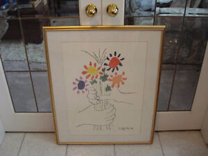 Large Gold Color Wood Framed Picasso Print - Excellent Condition