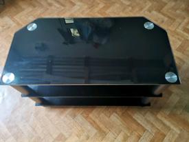 Black TV glass table