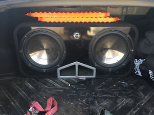 2 12 inch subs with amp and box ready for install