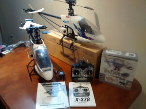 3 RC helicopters 1 new in box JR radio OS MAX