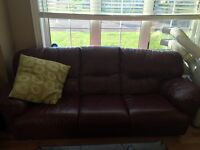 Leather couch & chair for sale