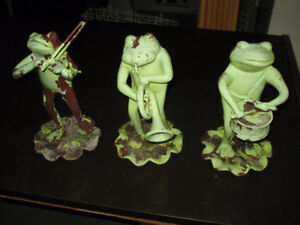 3 CAST IRON MUSICAL FROG LAWN ORNAMENTS