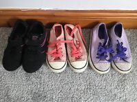 2 X girls converse and black trainers