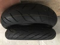 Dunlop d222 pair of tyres NEW. 120 front 160 60 17 rear
