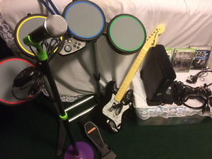 Xbox 360s all Hook ups, with complete Rock Band Kit inc Beatles