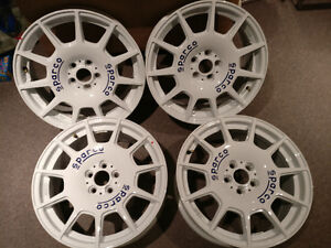 7.5x17 5X100 SPARCO TERRA WHITE/BLUE RALLY WHEELS - MAGS - NEW!