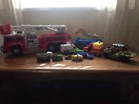 Bundle of cars big fire engine with sound and lights