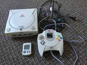 Sega Dreamcast with cables, one controller, one VMU