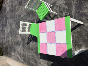 Children's Hand-Painted Tic Tac Toe Table and Chair Set