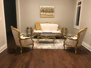 Luis V formal solid wood living room set with English Gold Leaf